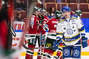 Leksands Thomas Valkvae Olsen deppar efter att Frölundas Theodor Lennström gjort 2–3 i början av tredje perioden. Foto: Daniel Eriksson/Bildbyrån