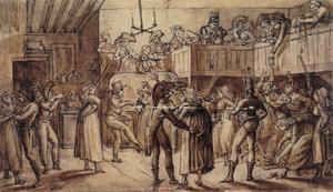 Bal för vanligt folk i Paris 1799.  Teckning av Claude-Louis Desrais .