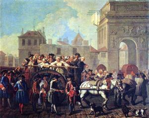 Fängelsetransport med prostituerade i Paris 1745.  Målning av Étienne Jeaurat.