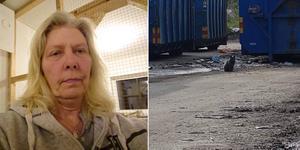 Evalena Malmqvist driver Missetorpet kattpensionat. Hon har varit ute på Isätra avfallsstation och försökt fånga in katterna, men menar att hon mötts av motstånd.