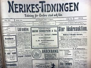 Så här såg framsidan av Nerikes-Tidningen ut den 9 april 1919. 1944 slogs tidningen ihop med Nerikes Allehanda och blev NA/NT.