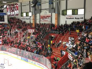 Så här såg det ut på bortasektionen i NHK Arena när matchen började.
