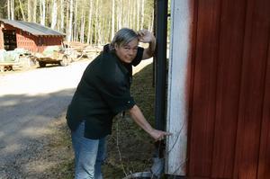 Maria Davidsson-Halvarsson hoppas att vattnet inte stiger till den nivå det var 1916, då får de vatten inne i huset.