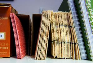 Trägipsplattorna ser ut som tunna knäckebröd, de är gjorda av träflis från asp och blir efter uppvärmning väldigt mjuk mot huden.
