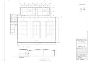 Planen är att bygga ut tennishallen mot Kristinelundsvägen med två padelbanor, de syns längst upp på ritningen. Omklädningsrummen, längst till vänster ska även användas av padelspelarna, och som det ser ut nu ska ingången till padelhallen bli via den nuvarande ingången.