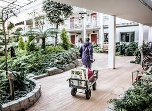 Seniorboendet Bovieran i Västerhaninge med en grönskande innergård. Foto: Tomas Oneborg/TT
