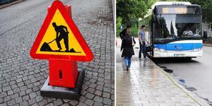 Busshållplatsen vid sjukhuset stängs av på grund av vägarbetet.