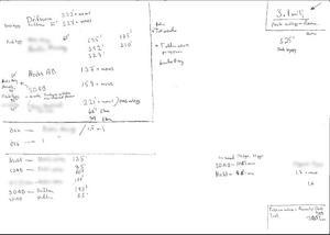 Inscannat dokument med vad som kan ses som överföringar mellan olika bolag.