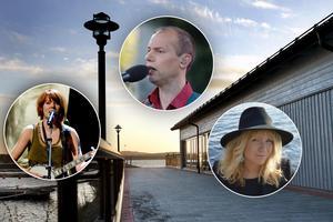 Abalone Dots, Ola Aurell och Ellinor Brolin uppträder på det första Ludvika Visfestival på Piren. Foto: Pontus Lundahl/Johan Larsson/Alice Storbacka Granqvist/Christine Olsson