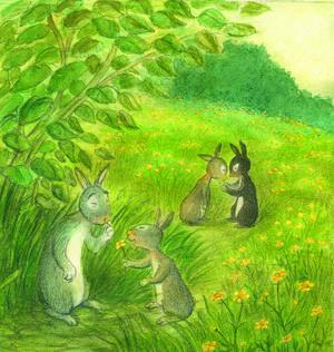 Farfar kanin lär barnen vilka växter som är ätliga och vilka som är giftiga. Och så lär han dem att leka gulnos med smörblommor.    Illustration: Eva Eriksson