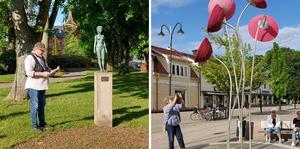 Per Wahlström ledde vandringen till de olika kulturföremålen i centrum.