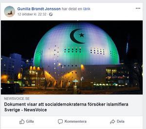 Gunilla Brandt Jonsson (SD) har själv även delat vissa inlägg om att Sverige håller på att islamiseras med Socialdemokraternas hjälp.