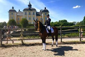 Hanna Nilsson och Daytona framför Strömsholms slott.