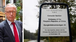 Den kinesiska ambassaden i Stockholm har de senaste åren kommer med ett flertal utspel riktade mot svensk media och svenska politiker. Foto: Karin Wesslén / TT