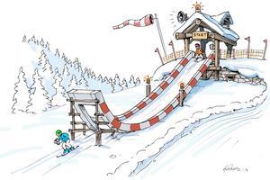 I vinter kommer våghalsiga barn och ungdomar att kunna skida ner för den här rampen. Till sommaren ska Formel Filurius byggas ut med ytterligare tre etapper. Skiss: Säfsen Resort