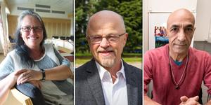 V-politikerna Ann-Christine Andersson, Stig Henriksson och Shiro Biranvand.