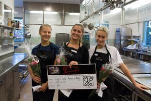 Silje Norell, Anna Svensson och Molly Asplund från friskolan Vintergatan vann tävlingen Matfesten som organiserades av Slottegymnasiet i Ljusdal.Foto: Angela Jillings