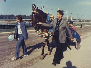 Berit och Tage Hedberg omger Ego Boy som just vunnit Elitloppet 1973. Bak i sulkyn syns den tystlåtne succékusken Ingemar Olofsson, jämtlänning med säte i Rättvik. Foto: Kanal 75