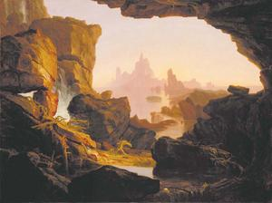 Syndafloden drar sig tillbaka vid berget Ararat där Noaks Ark har strandat. Målning av Thomas Cole från 1829.