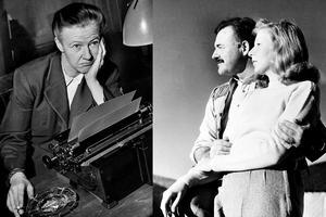 Barbro Alving till vänster och Martha Gellhorn till höger, i sällskap med Ernest Hemmingway.