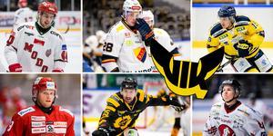 Kalle Jellvert, Dennis Svensson, Lucas Carlsson, Tony Mårtensson, Albin Lundin och Erik Borg – sex av de elva namnen på Hockeypuls lista över centrar som kan fylla den viktiga centerluckan i VIK Hockey. Foto: Bildbyrån