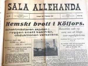 Den 5 september 1933 sköts Axel Kjellberg och hans hushållerska Karin Holmberg till döds i Kölfors, Enåker. Därefter brändes huset ner för att polisen skulle tro att det var en olycka, men rättsläkare hittade kulhålen. Bytet blev 20 000 kronor.