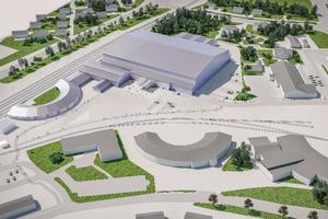 Skiss över hur bandyhallen på SJ-området är tänkt att se ut. Bild: Bollnäs Bandy
