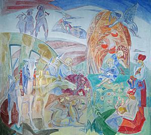 Väggmålningen av Gösta Liljeström finns i Insjöns skola. Invid har konstnären skrivit en text som beskriver målningen. Foto: Sören Sjöstrand