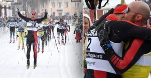 Norrmannen Andreas Nygaard vinner Vasaloppet 2018 före svenske Bob Impola, som han kramar om till höger.