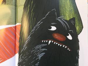 Lilla monster är inte glad över att Luddmonster inte har någonstans att ta vägen. Ur nya bilderboken Monster i knipa. Ill: Áslaug Jónsdóttir