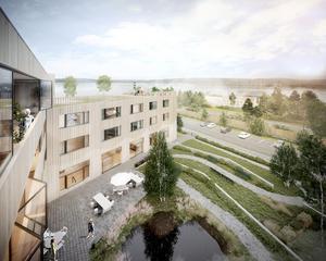 Så här är tanken att det nya 'äldreboendet på Bangårdsgatan ska se ut med utsikt ner mot Storsjön. Foto: Magnolia