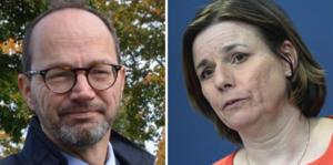 Tomas Eneroth (S) infrastrukturminister och miljö- och klimatminister, samt vice statsminister Isabella Lövin (MP).
