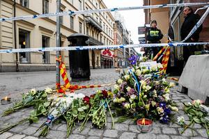 Dagen efter terrordådet i Stockholm i fjol.