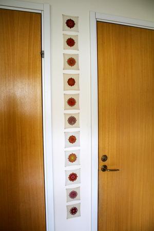 På en vägg hänger mellanlägg för tallrikar, som Birgitta gjort.
