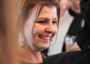 Carina Jonasson från Företagarna Ånge såg fram emot en trevlig kväll i Ljungaverk.
