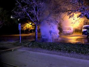 Bilbrand på Varberggatan i natt. Foto : Lars Ströman.