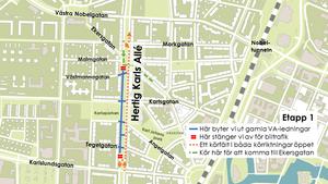 Så här kommer trafiken att ledas om från nästa vecka och sex veckor framåt. (Karta: Örebro kommun)