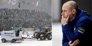 2010 års SM-final mellan Hammarby och Bollnäs (3–1) präglades av snökaos. Vad det blir för väder på lördag återstår att se, men prognoserna när den här artikeln skrivs visar nio plusgrader och nio sekundmeter vind. Bild: TT