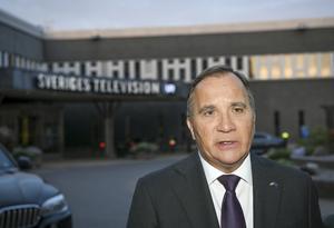 Statsminister Stefan Löfven vid tv-huset för partiledardebatt. Foto: Jonathan Näckstrand/TT