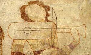 Kalkmålning från 1300-talet av spelman. Öslevs kyrka på Själland.