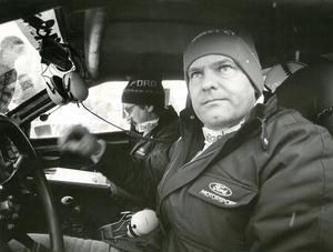 Redo för start. En sammanbiten Stig  Blomqvist tillsammans med kartläsaren Bruno Berglund 1986. Arkivbild: Lennart Almqvist