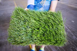 Fotbollsplanerna ska ha konstgräs som utvinns från en miljövänlig garnteknik och som är certifierat av Fifa.