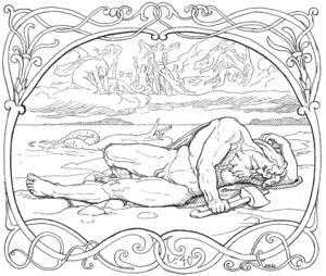 Tor dör efter striden mot  Midgårdsormen. Illustration av Lorenz Frølich från 1895.