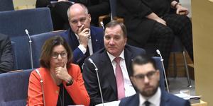 """Statsministern gick ut hårt i EU-debatten och ifrågasatte Moderaternas regeringsunderlag. Det märks tydligt att den ende som är lika ivrig som Jimmie Åkesson att lansera ett """"högerkonservativt block"""", det är Stefan Löfven. Foto: Claudio Bresciani, TT."""