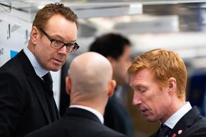 Niklas Eriksson och hans tränarkollegor. Bild: Mathias Bergeld/Bildbyrån