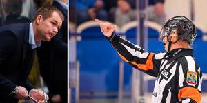 Tomas Mitell ser gärna att hockeyallsvenskans matcher spelas med två huvuddomare och inte bara en. Foto: Bildbyrån (montage)