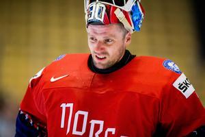 Lars Haugen spelade 31 matcher för Färjestad i SHL:s grundserie och laget vann 15 av dem – han hade då en räddningsprocent på 91,5, vilket var den nionde bästa i ligan.Foto: Vegard Wivestad Grött/Bildbyrån
