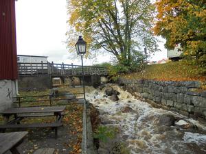 Höstfärger vid kvarnen, Söderhamn. Mycket vatten i ån. Foto: Leif Blomqvist