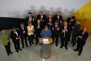 Angela Merkel på valkvällen när det står klart att hon blir omvald som förbundskansler i Tyskland.