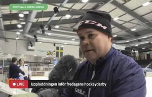 Leif Strömberg under sin första träning med Sundsvall Hockey.